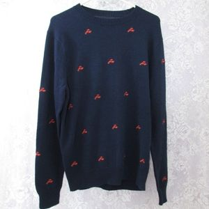 J Crew Factory Mens Embroidered Lobster Sweater M